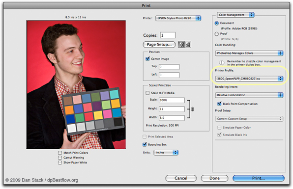 Print dialog with custom profile
